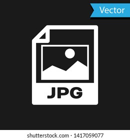 White JPG file document icon. Download image button icon isolated on black background. JPG file symbol. Vector Illustration