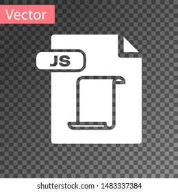 White JS file document. Download js button icon isolated on transparent background. JS file symbol.  Vector Illustration