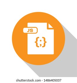 White JS file document. Download js button icon isolated on white background. JS file symbol. Orange circle button. Vector Illustration