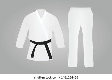 White karate suit. Martial uniform. vector illustration
