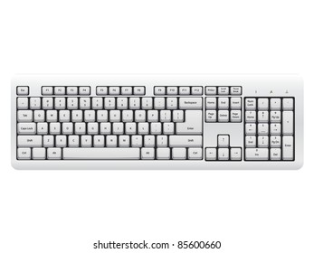 White Keyboard isolated on the white background