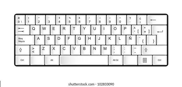 white keyboard isolated over white background. vector illustration