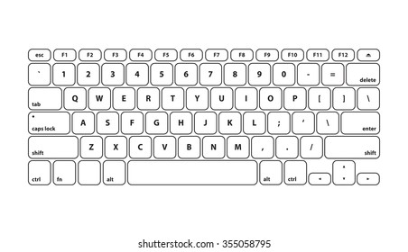 White Keyboard Stroke QWERTY - Isolated Vector Illustration