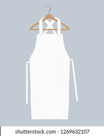 White kitchen apron. Chef uniform for cooking vector template. Kitchen protective white apron for chef uniform illustration