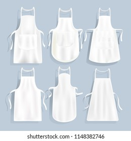 White kitchen aprons of different shape, vector set. Realistic apron mockup, illustration