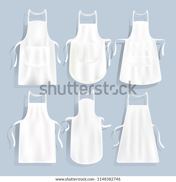 White Kitchen Aprons Different Shape Vector Stock Vector ...