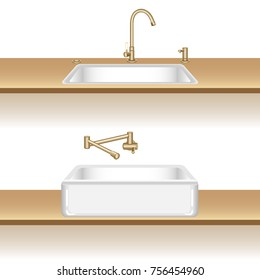 White kitchen sink with brass water tap and soap dispenser. Installation options. Vector illustration in 3d cartoon style.