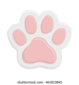 White kitten paw. Animal cat paw print in flat style isolated on white background. Vector illustartion