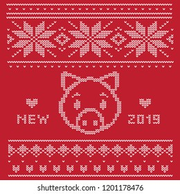 White knitted pattern on a dark red background. Sweater with the image of a pig - the Chinese symbol of 2019.