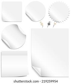 White Labels and Pages - Collection of blank labels and pages with peeling corners.  Realistic white and silver thumbtacks also included.  Each element is grouped individually for easy editing.
