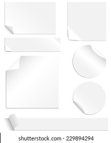 White Labels Set - Collection of blank labels with peeling and creased corners. Each element is grouped individually for easy editing. Colors are global swatches, so they can be changed easily.