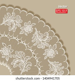 White lace design background, ornamental flowers circle Abstract ,  isolated on beige.  Lace Doily. Floral background  vector illustration