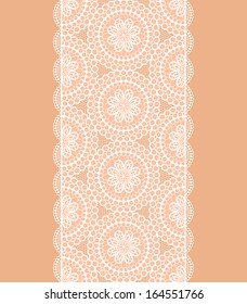 White lace endless ribbon. Vector illustration