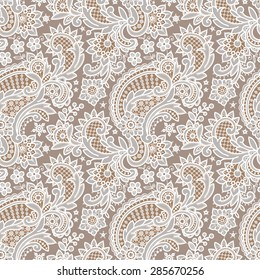 White Lace. Floral Seamless Pattern. Beige Background.