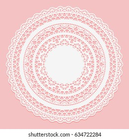 White lace napkin on a pink background. Openwork round frame. Vector illustration