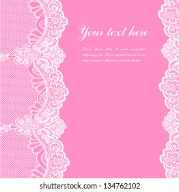 white lace on pink background and place for your text
