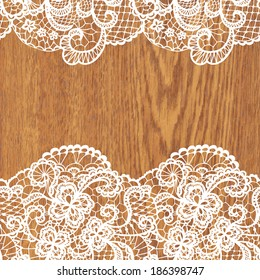 White lace on wood texture. Vector illustration.