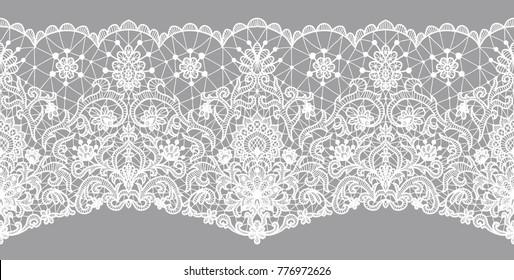 White lace ribbon on gray. Horizontally seamless design