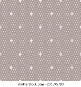 White Lace Seamless Pattern. Beige Background.