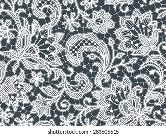 White Lace. Seamless Pattern. Floral Pattern.