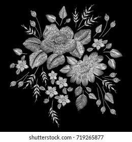 white lace. Set of the Traditional folk flower fashionable embroidery on the black background. A bouquet of roses and a dog rose, for printing on clothes, vector