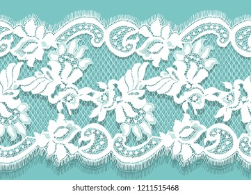 White Lace Vector Detailed Seamless Pattern