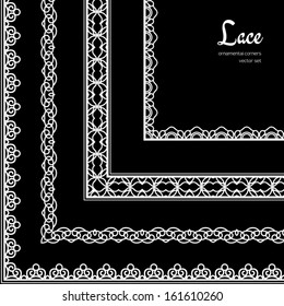 White lace, vector set of ornamental corner elements on black background
