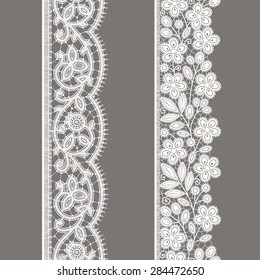 White Lace. Vertical Ribbon. Floral Seamless Pattern. Gray Background.