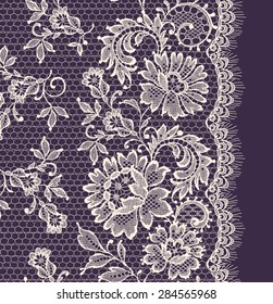 White Lace. Vertical Seamless Pattern. Violet Background.