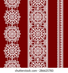 White Lace. Vertical Seamless Pattern. Ribbons. Red Background.