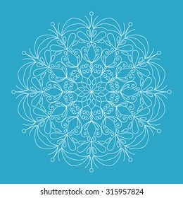 White lacy snowflake on blue winter background. Vector illustration  snowflake. Decorative element.