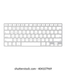 White laptop computer wireless keyboard top view with keys, vector illustration eps 10
