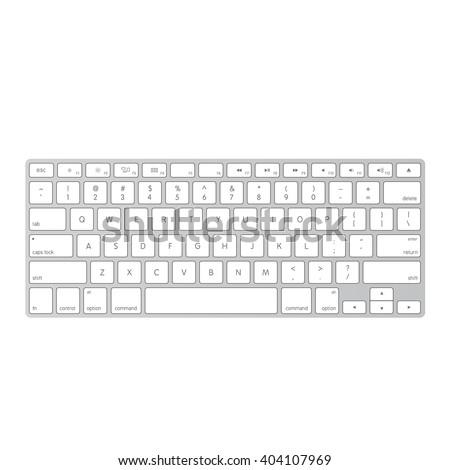 White Laptop Computer Wireless Keyboard Top Stock-Vektorgrafik ...