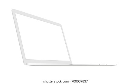 White laptop Macbook mockup with perspective 3/4 left view. Display your design on this responsive blank screen. Vector illustration