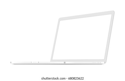 White laptop Macbook Pro mockup with perspective 3/4 right view. Responsive blank screen to display web-site design. Vector illustration