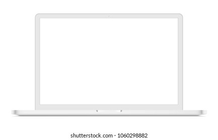 White laptop mockup - front view. Vector illustration