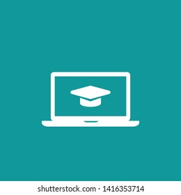 White laptop monitor with graduation cap or mortar board. isolated on blue. Flat vector simple icon. Internet knowledge symbol. Good for web and mobile design.  on-line education sign.