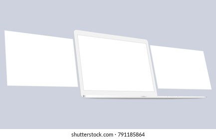White laptop perspective view with wireframing screens mockup. Blank template to create presentation your web-design projects. Vector illustration