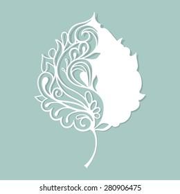 White leaf made of paper. Stylized skeleton leaf.