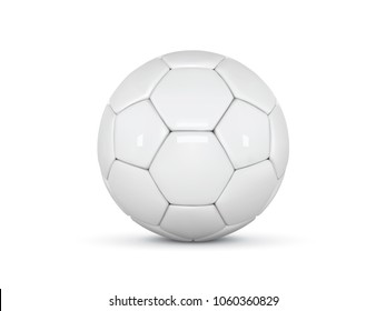 White leather ball. Realistic soccer ball on white background. Football 3d ball. Vector