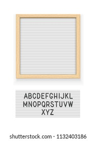 White letter board. Letterboard for note. Plate for message. Office stationery. Wooden frame. Isolated white background. EPS10 vector illustration.