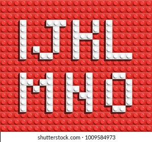 White letters of alphabet from red building lego bricks. lego bricks letters. lego alphabet