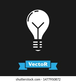 White Light bulb with concept of idea icon isolated on black background. Energy and idea symbol. Inspiration concept.  Vector Illustration