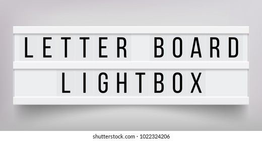 White lightbox with customizable design. Classic banner for your projects or advertising. Light banner, vintage billboard or bright signboard. Cinema or theater light box frame for ads.