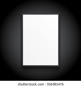 white lightbox on black wall