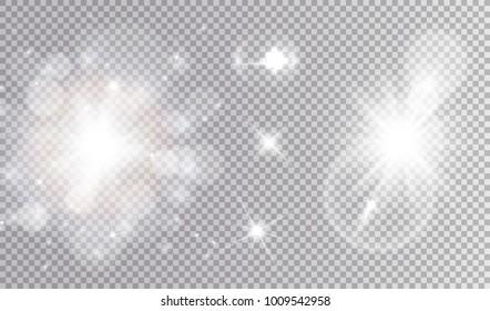 White lights cosmic design set. Soft sparkling bokeh cloud, different stars, big soft outburst with lens flare effect.