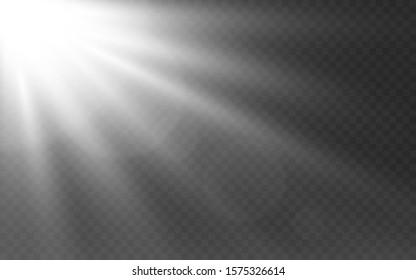 White lights on transparent backdrop. Sunlight effect with glowing rays. Sunshine template. Bright white beams and lens flare. Glow light effect. Vector illustration.