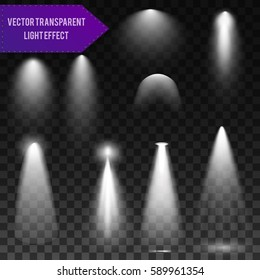 White lights set of different shapes. Light transparent background. Abstract vector illustration