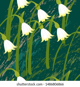 White lilies of the valley.White forest lilies of the valley on a dark background,painted with a brush.Pattern. Vector illustration.