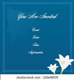 White Lily on Blue Background Invitation